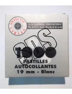 PASTILLE AUTOCOLLANTE BLANCHE 19mm