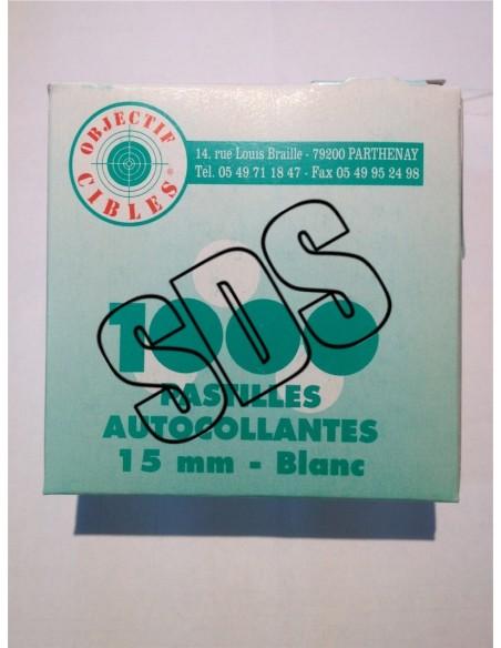 PASTILLES AUTOCOLLANTES BLANCHE 15 MM